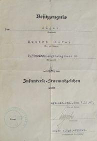 Ankauf & Verkauf Besitzzeugnis über das verliehene Infanterie-Sturmabzeichen
