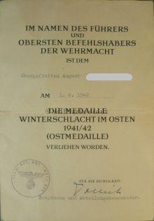 Ankauf & Verkauf Verleihungsurkunde der Medaille zur Winterschlacht im Osten 1941/42